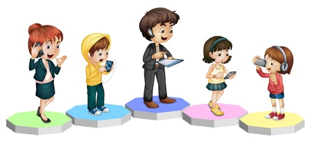 girl at phone: Illustration of modern technology in the family