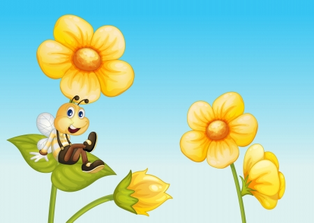 Illustration of a bee on a flower Vector