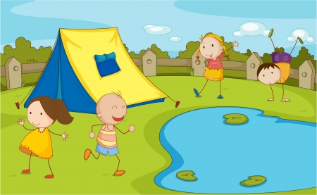 Illustration of group of camping kids Vector