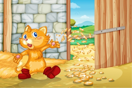 ginger cat: Illustration of a cat with coins in barn Illustration
