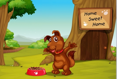 Illustration of dog in front of tree home Vector
