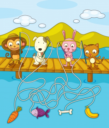 pier: Illustration of animals fishing on pier Illustration