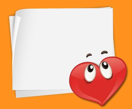 Illustration of heart on paper Stock Vector - 13632016