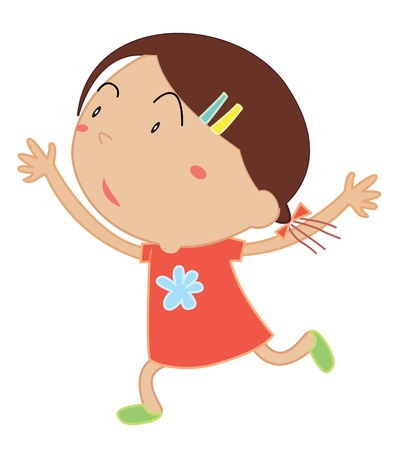 simple girl: Illustration of a girl running Illustration