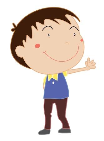niños actuando: Ilustración de la joven de pie en blanco Vectores