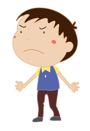 frown: Illustration of an angry boy