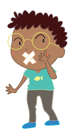 Illustration of boy with mouth covered Vector