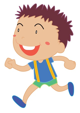 spiky hair: Illustration of a child running