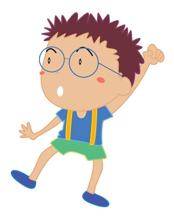 kids glasses: Illustration of a cheering child