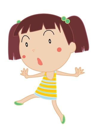 niños actuando: Ilustración de una chica bailando sobre fondo blanco Vectores