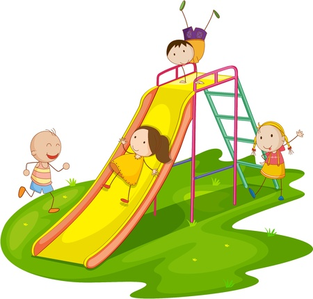 playground equipment: Illustration of group of kids playing