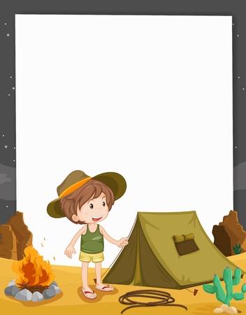 lägereld: Illustration av camping på papper