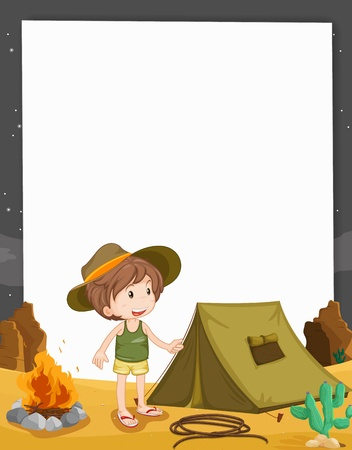 scout: Illustration of camping on paper Illustration