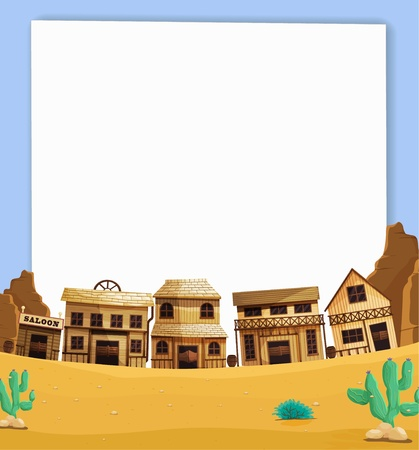 Illustration of wild west on paper Vector