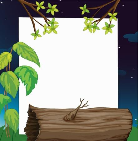 Ilustración de una escena de la naturaleza de registro en papel