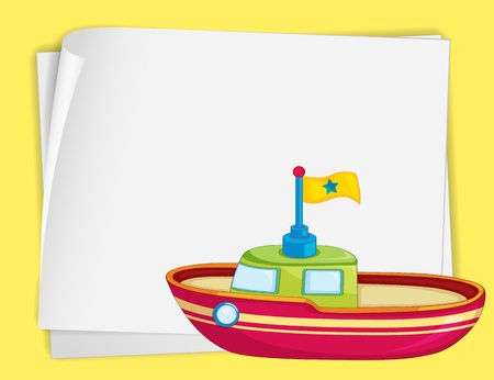 toy boat: Illustration of toy boat and paper Illustration