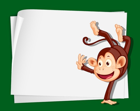 Illustration of crazy monkey on paper Vector