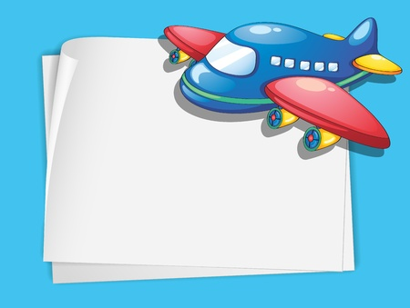 White paper template with a plane cartoon Stock Vector - 13632017