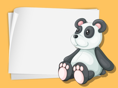 White paper template with a panda cartoon Vector