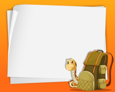 a snake in a bag: White paper template with snake and a backpack Illustration