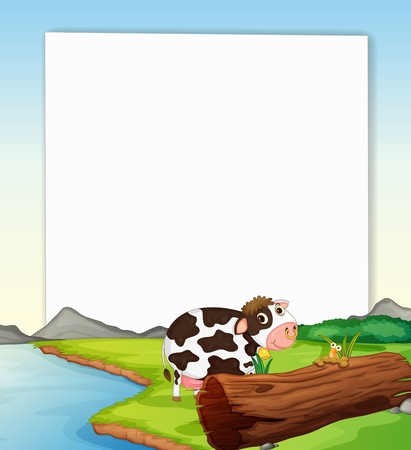 book worm: White paper template with a dairy cow Illustration