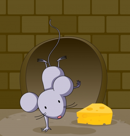 Illustration of a mouse and cheese Vector