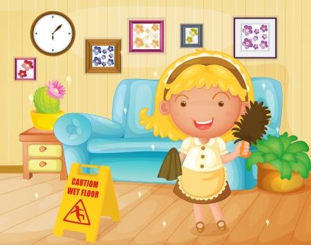 wet floor caution sign: Ilustraci�n de un ama de casa