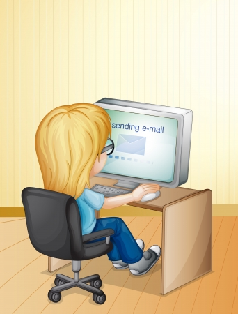 facing away: Illustration of a girl using computer Illustration