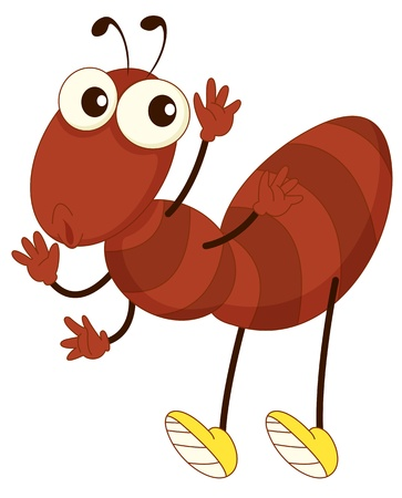 small insect: Simple cartoon of a brown ant
