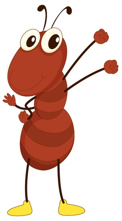 cartoon ant: Simple cartoon of a brown ant