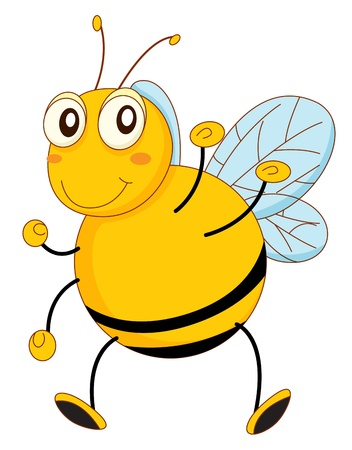 stinging: Simple cartoon of a bee