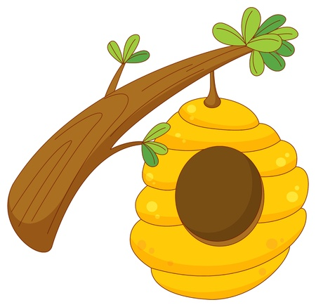 cartoon of a beehive hanging from a branch Vector