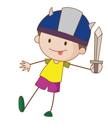 Illustratie van de jongen die als ridder