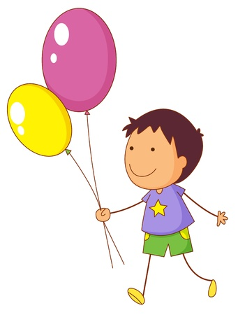 guy with walking stick: Illustration of a kid holding balloons
