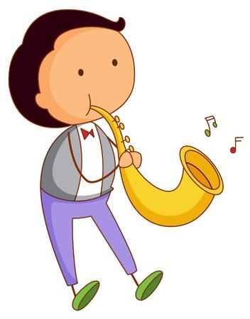 clarinete: Ilustraci�n de un chico musical