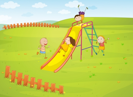 water slide: Illustration of group of kids in the park