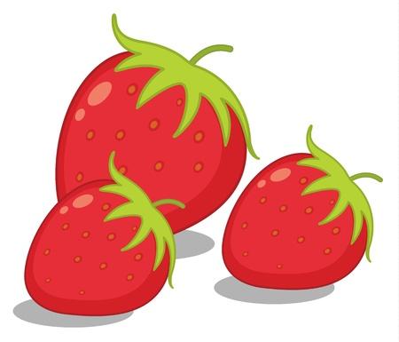 Ilustración de tres fresas en blanco