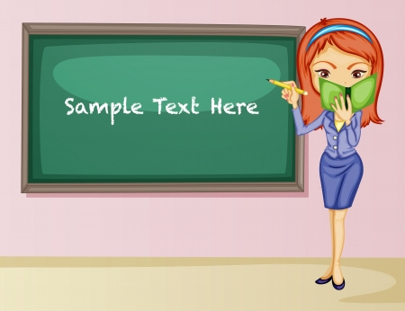 college girl: Illustration of teacher presenting to class Illustration