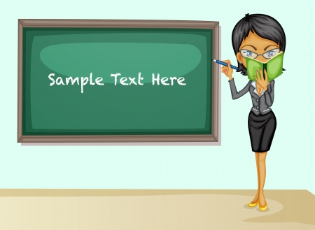Illustration of a teacher teaching lesson Vector