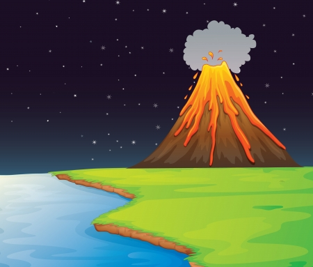 magma: Illustration of volcano in the distance