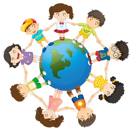 kids holding hands: Illustration of kids around the Earth