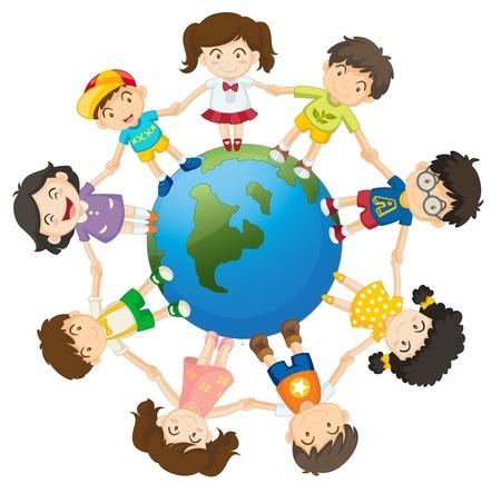 Ilustración de los niños alrededor de la Tierra