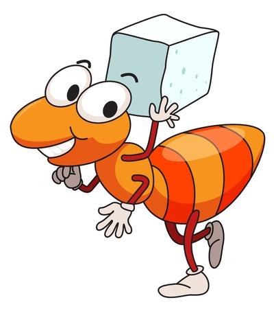 animal leg: Ilustraci�n de la hormiga el traslado de az�car Vectores
