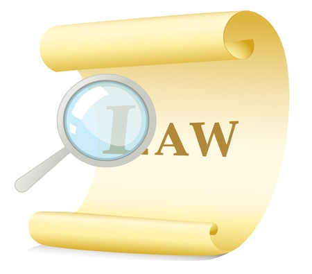 scroll of the law: Illustration of a law search concept