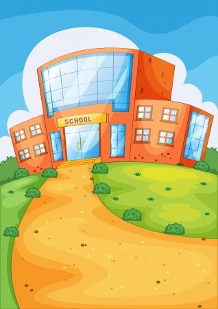 Ilustración del edificio de la escuela y la ruta