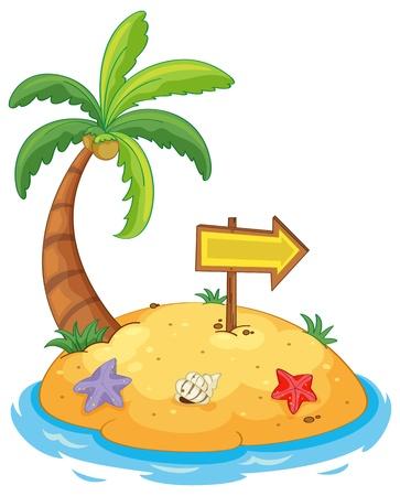 Ilustración de una isla paradisíaca