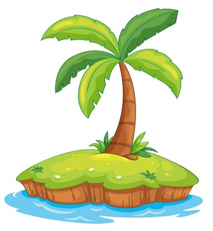 Illustration of a tropcial island on white Vector