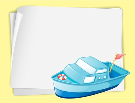 Illustration of a boat on white paper Stock Vector - 13667474