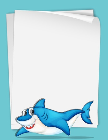 Illustration of shark swimming with paper Vector