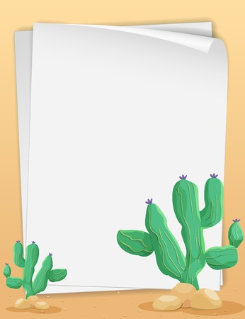 Illustration of cactus scene and paper Stock Vector - 13667486